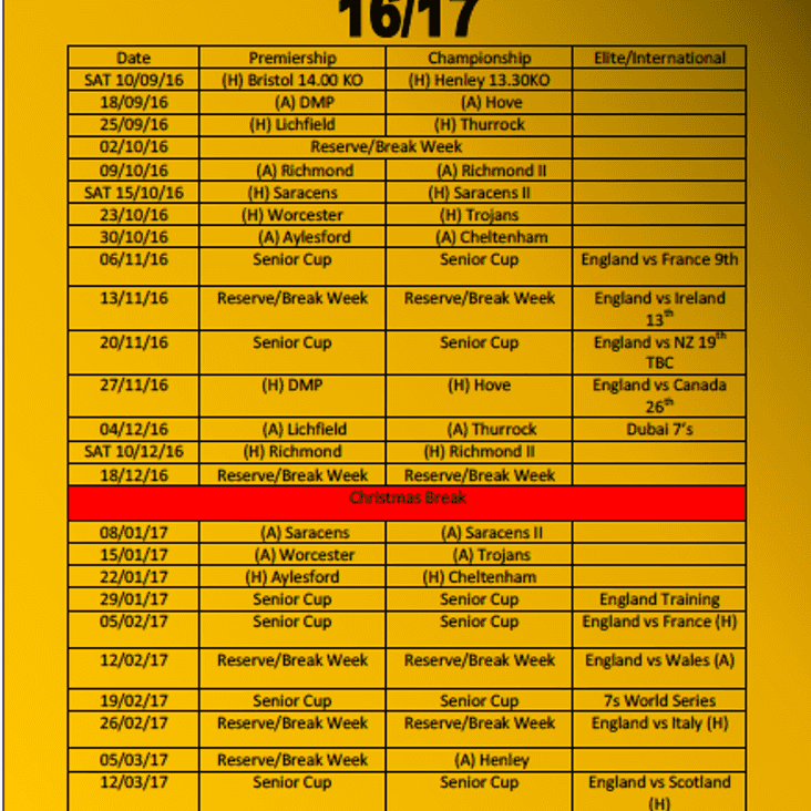 Wasps Ladies 2016/17 Fixtures