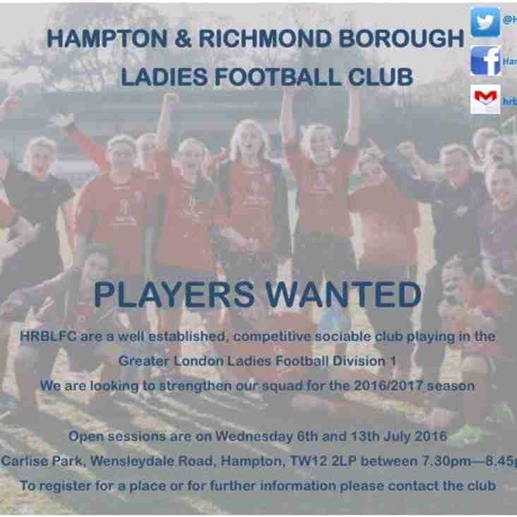 Need a new challenge? HRBLFC are looking for players!