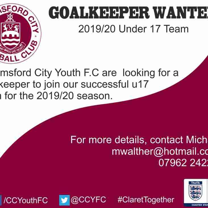 U17 (next season) Goalkeeper Required