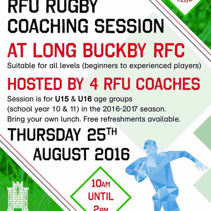 RFU Run Players Training Session for all U15 & U16 players - all welcome, new, present and old players