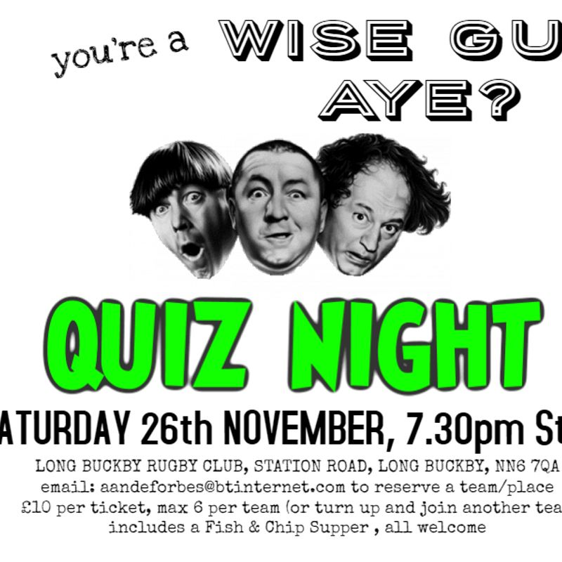 QUIZ Night @ Long Buckby RFC - Saturday 26th November