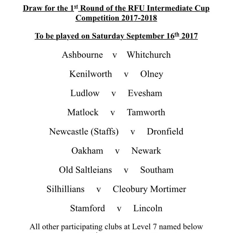 INTERMEDIATE CUP FIRST ROUND DRAW