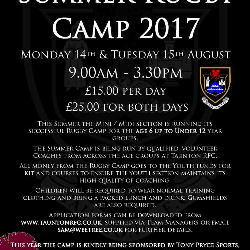 Taunton RFC Summer Camp 2015