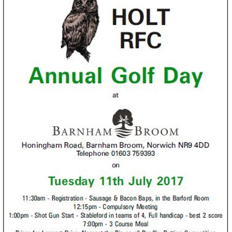 Players invited to our Annual Golf Day on 11th July at Barnham Broom GC