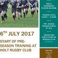 Pre-Season training starts on Thursday 6th July