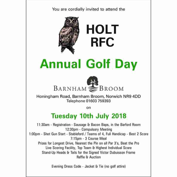 Annual Golf Day at Barnham Broom Golf Club, 10th July