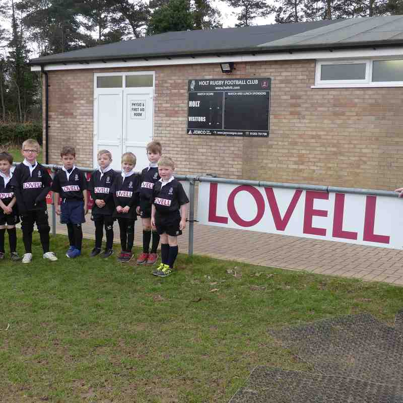 U7's sponsored by Lovell Homes provide guard of honour at 1st XV game v Southwold 24.3.18