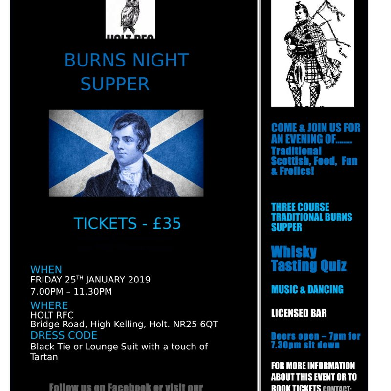 Burns Night Supper at Holt Rugby Club. SOLD OUT