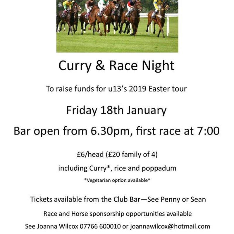 Curry & Race Night Fri 18th January