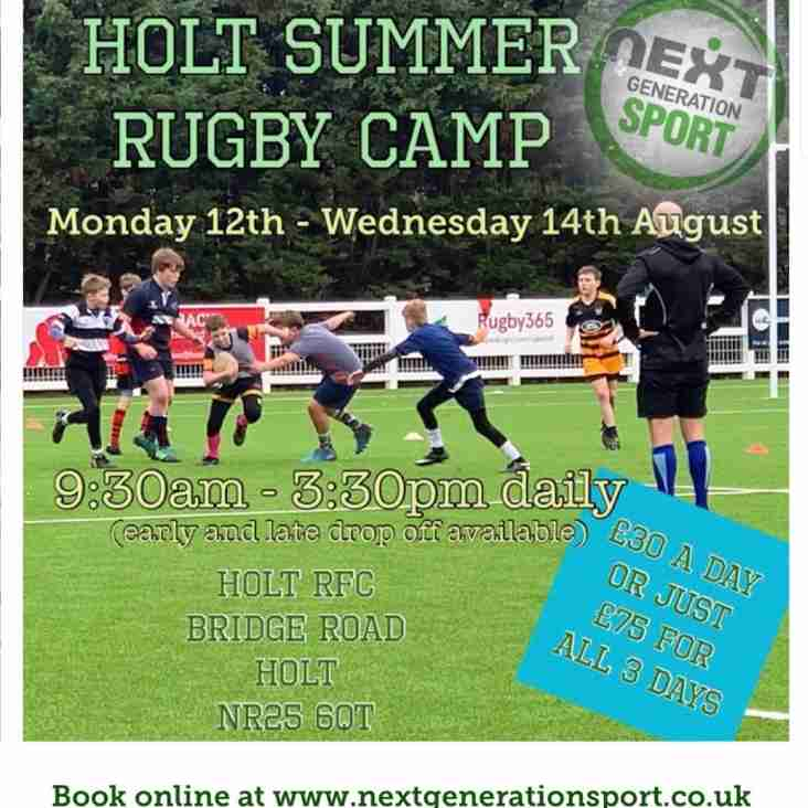 Holt Summer Rugby Camp, 12 - 14 August