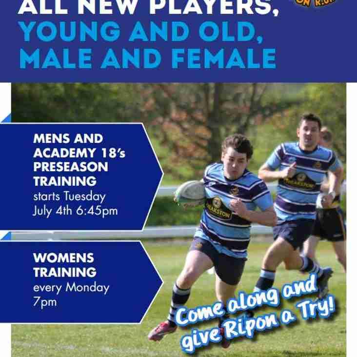 Pre-Season Training Starts - Tuesday 4th July