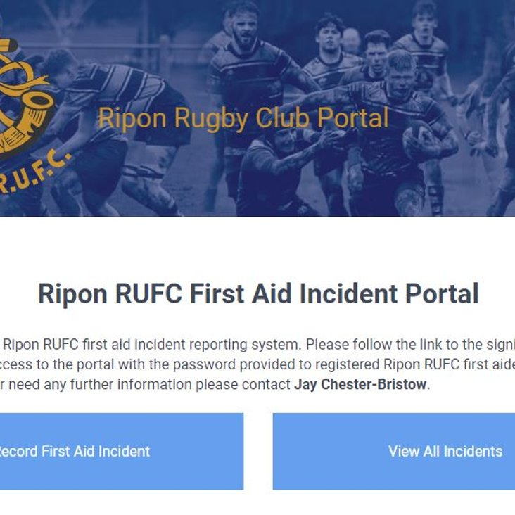 Ripon RUFC, leading the way in first aid injury reporting<