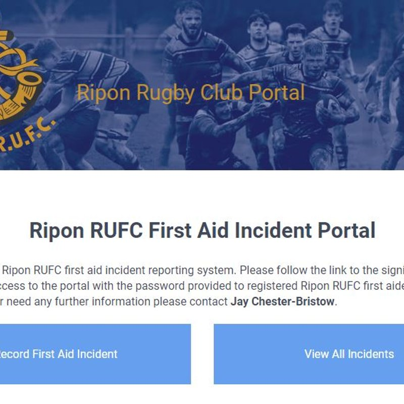 Ripon RUFC, leading the way in first aid injury reporting