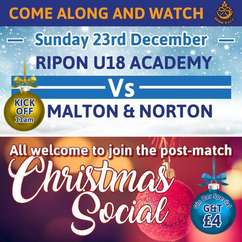 U18 Acadamy Match & Christmas Social