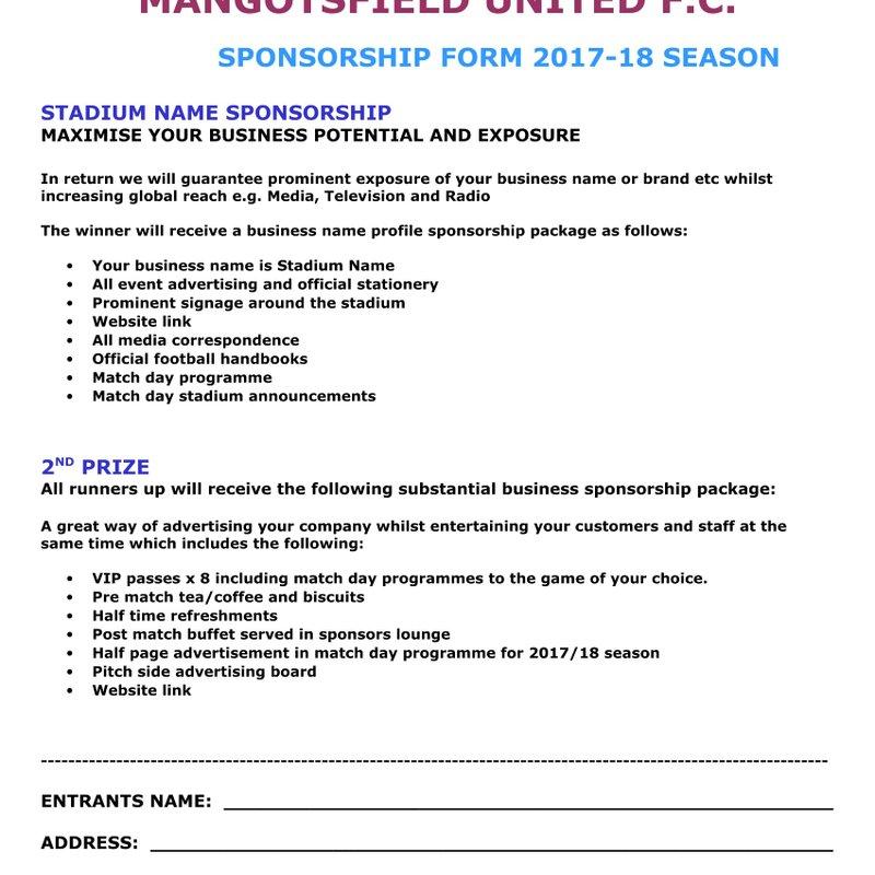 Sponsorship for 2017/18