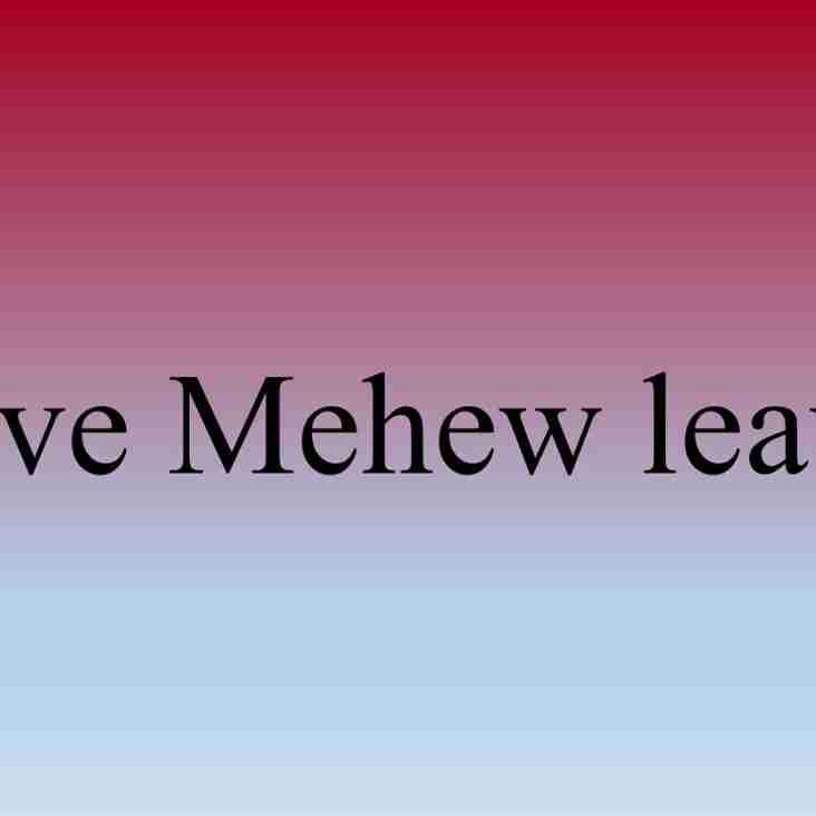 David Mehew Leaves Club