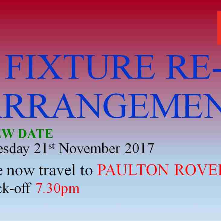 Paulton Rovers date changed