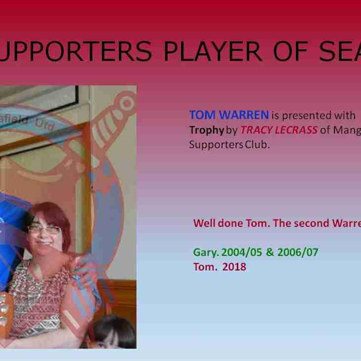 Tom Warren wins The Belcher Trophy