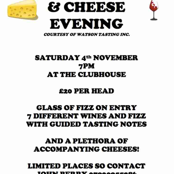 Wine Tasting & Cheese Evening 4th Nov