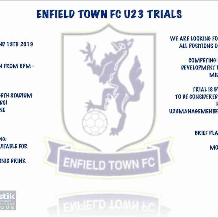 Enfield Town FC Under 23 Trials
