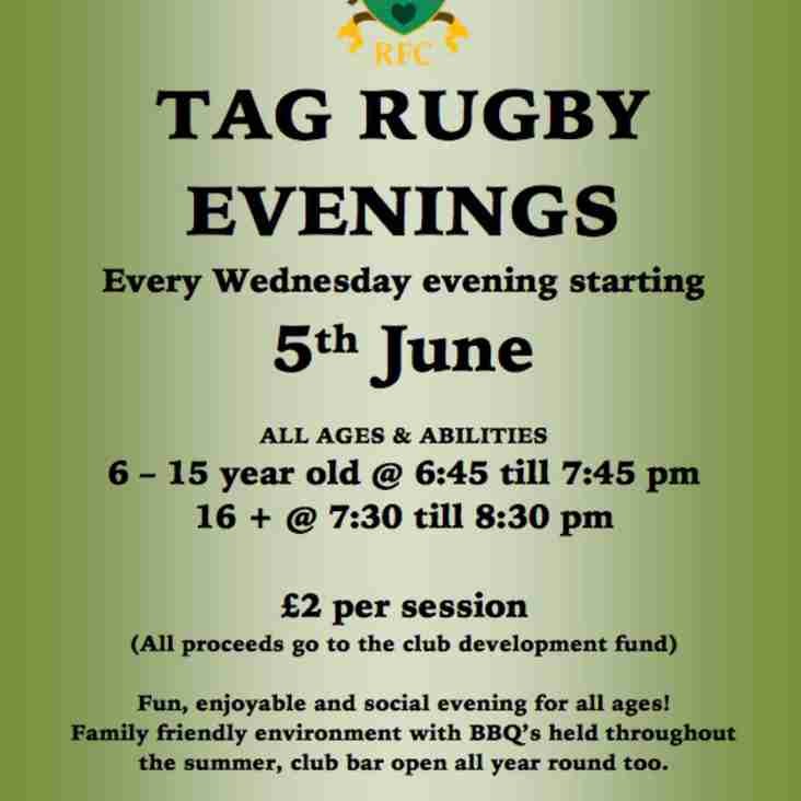 Tag rugby for everyone on Wednesday evenings