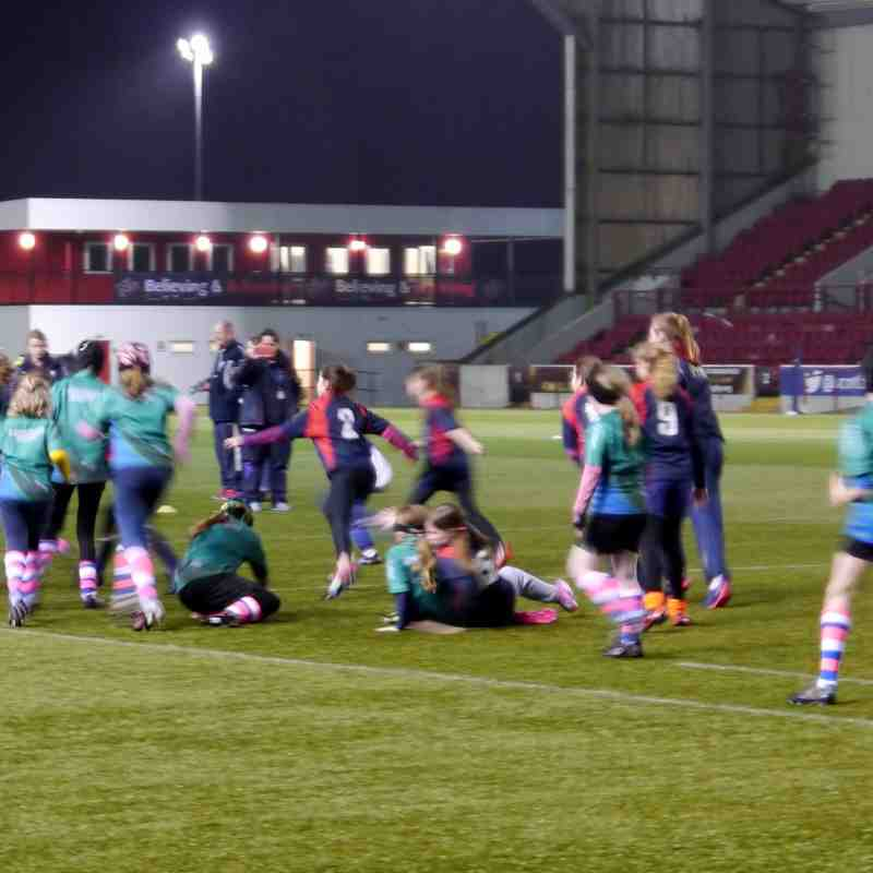Abby and Megan Represent at Scotland v France Woman's 6 Nations halftime exhibition match (Angus U12 Girls v Jordanhill)