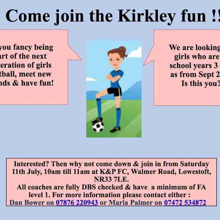 Looking for players for an exciting new girls team