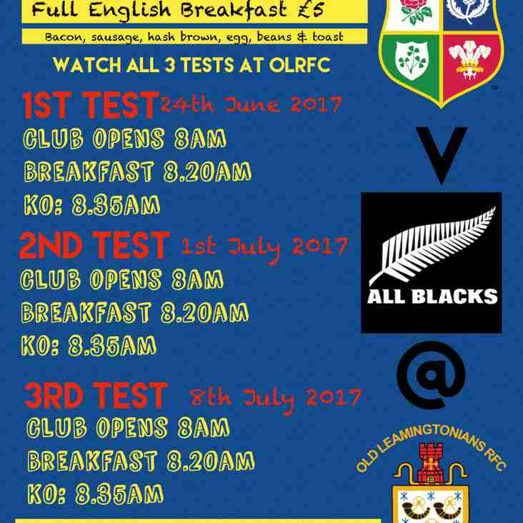 Order Your Breakfast with the Lions for 2nd Test 1st July OLRFC