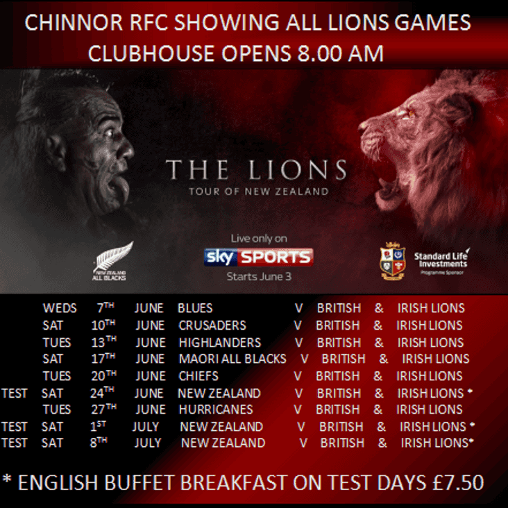 ALL LIONS GAMES LIVE AT CHINNOR