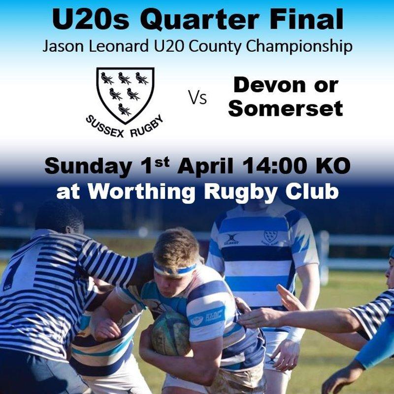U20 Quarter Final on 1st April