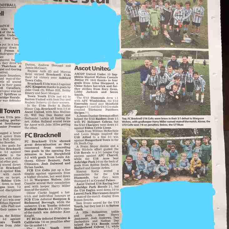 FC Bracknell featured in this weeks Bracknell News