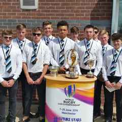 UNDER 20'S RUGBY WORLD CUP TROPHY AT TRAFFORD MV