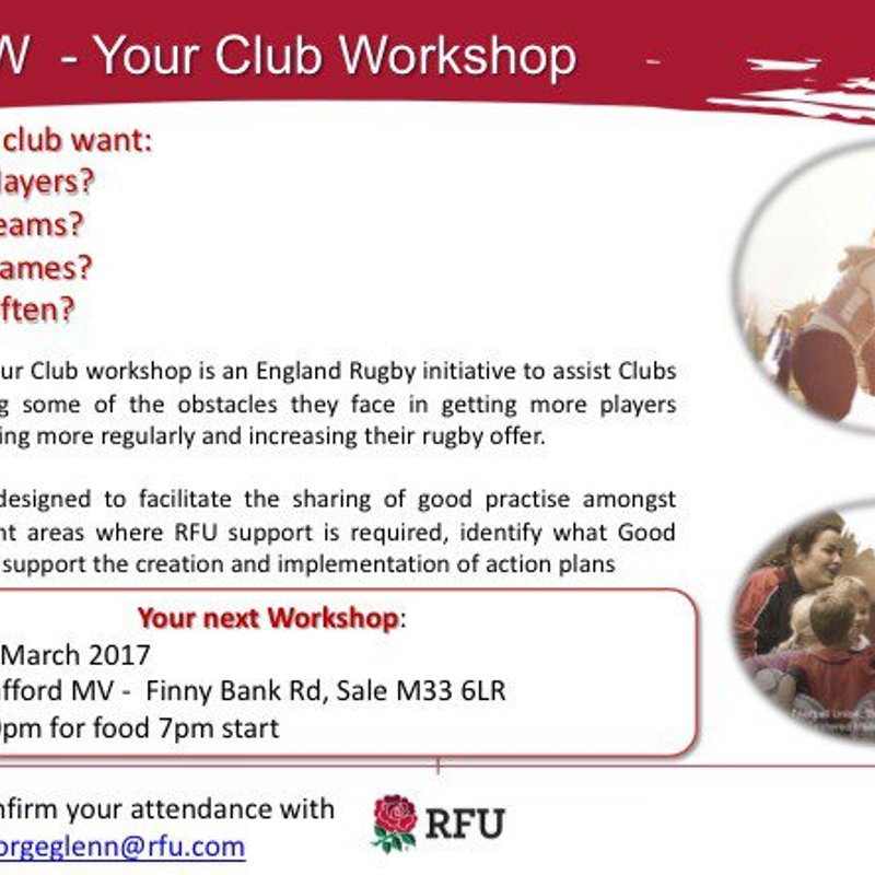 RFU Community of Practice Workshop at MV - Wed 29th March