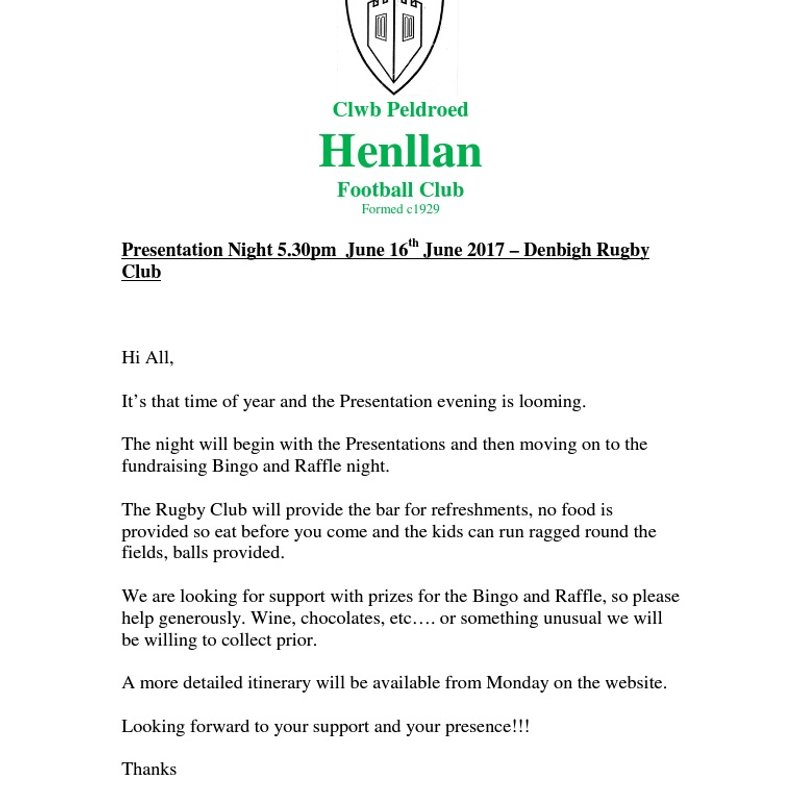 Junior Presentation Evening 2017