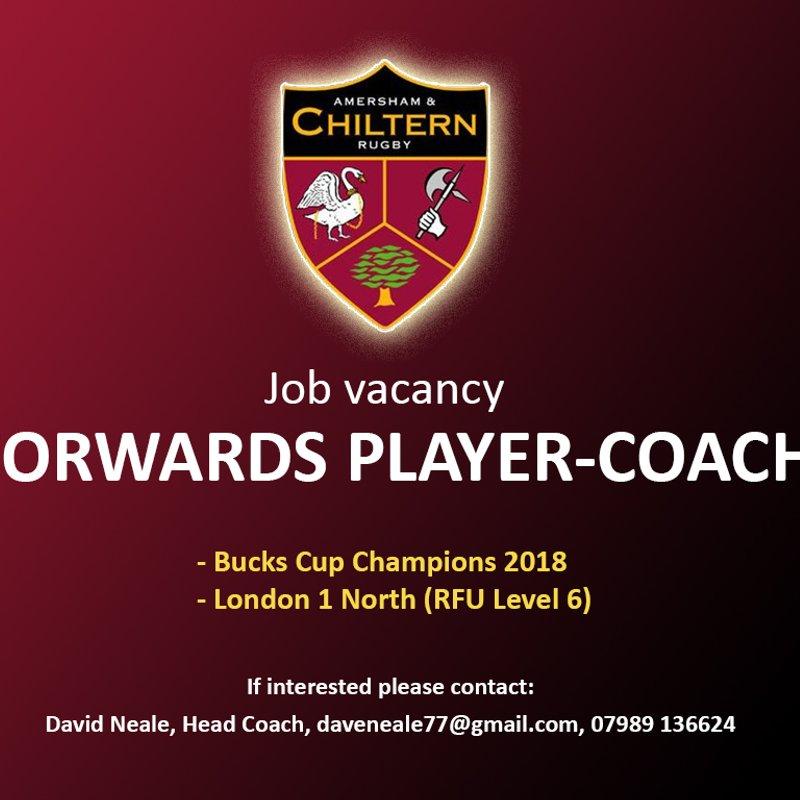 Job Vacancy - 1st XV Forwards Player-Coach