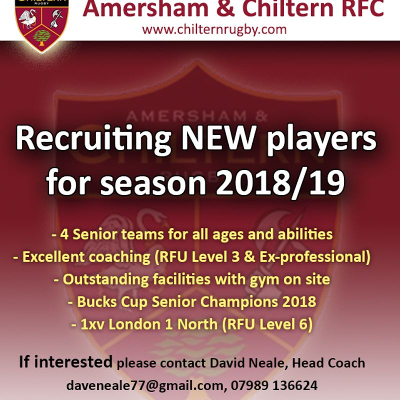 Recruiting NEW players for the 2018/19 season