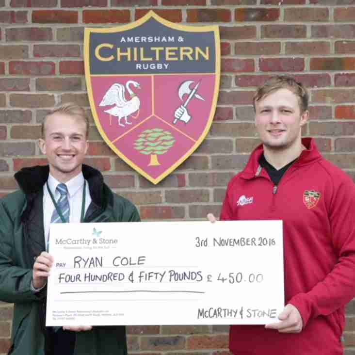 McCarthy and Stone presents Ryan Cole his player sponsorship