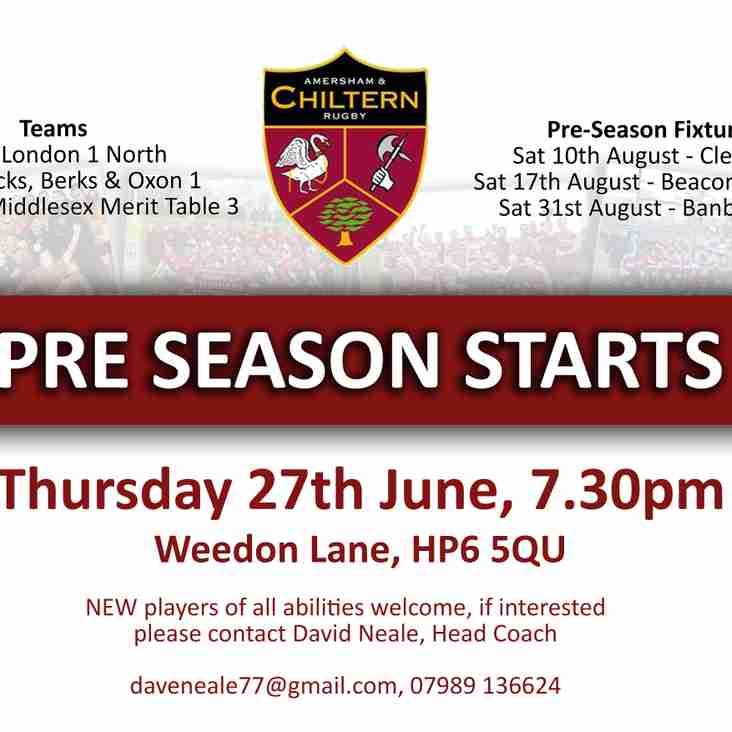 Pre-season starts, Thurs. 27th June 7:30pm
