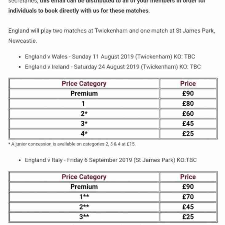 England Summer International Matches