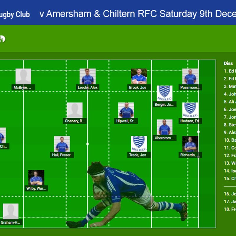 Diss RFC 1st Team selection v Amersham & Chiltern RFC