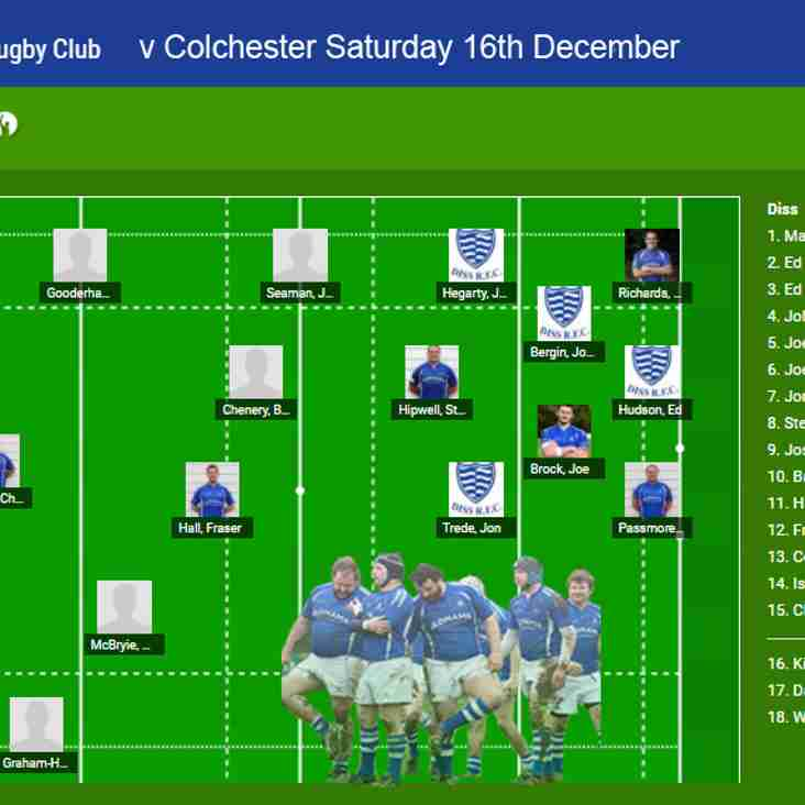 1st Team Selection v Colchester