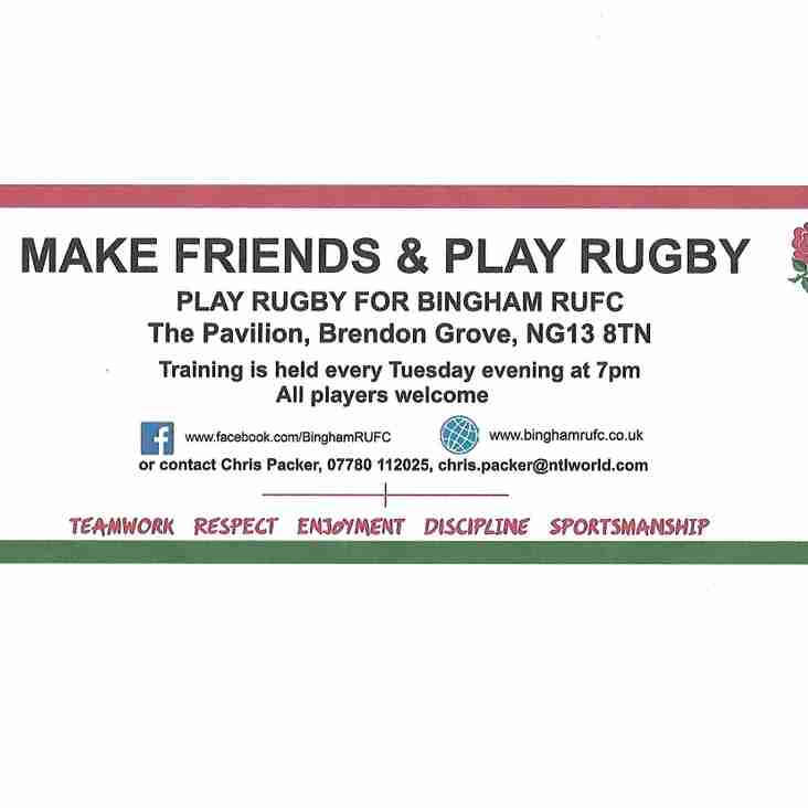 Play rugby for Bingham
