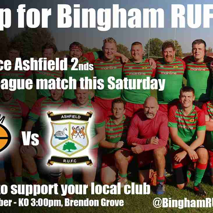 Home league fixture this Saturday v Ashfield 2nds