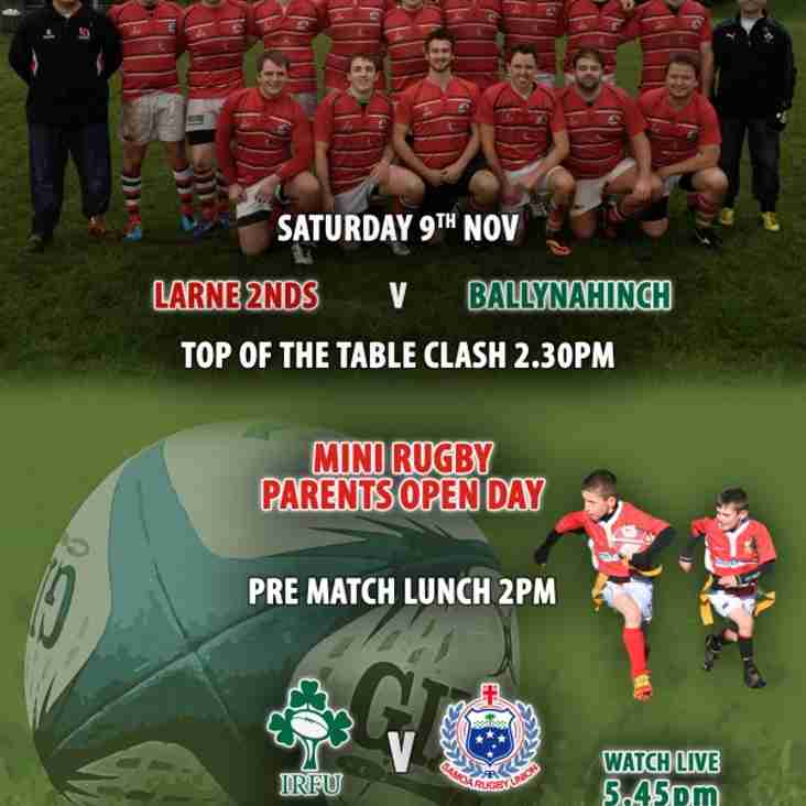 Parents of Mini Rugby Open Day & Larne 2nds v Ballynahinch Top of the Table clash