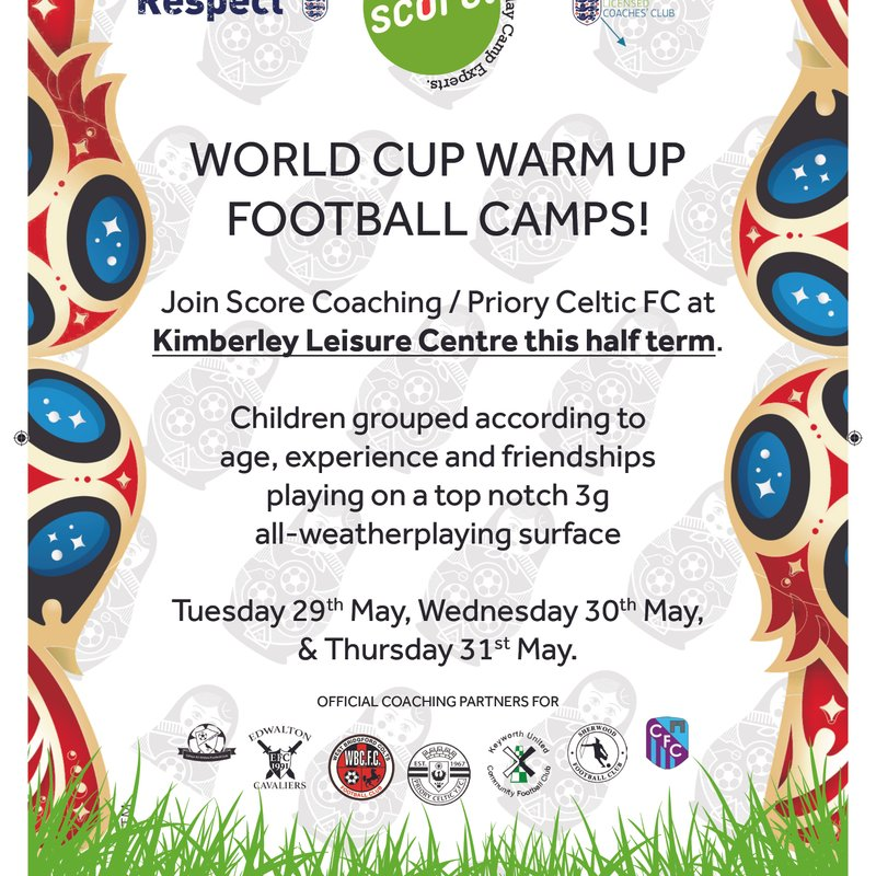 Priory Celtic World Cup Warm Up Football Camps.