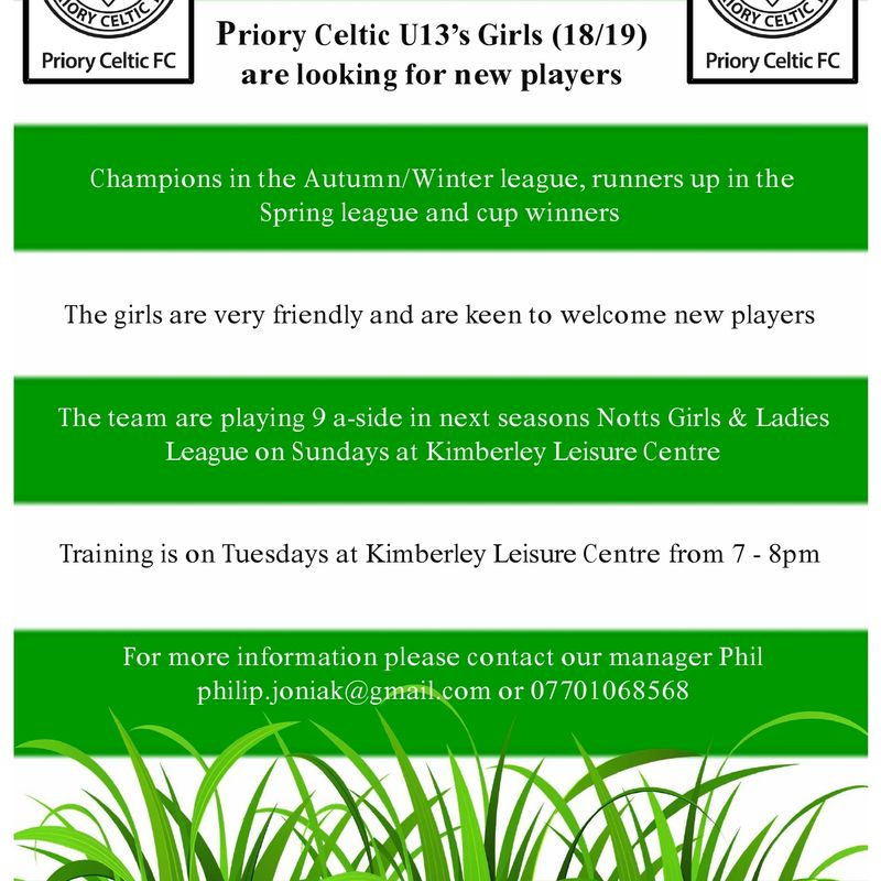 Priory Celtic U13 Girls (18/19)