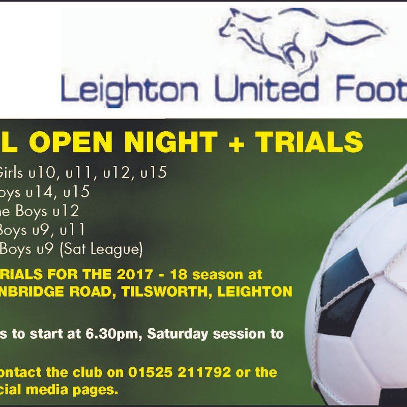 Open trials continues for Boys Leighton United Saturday U9s Team
