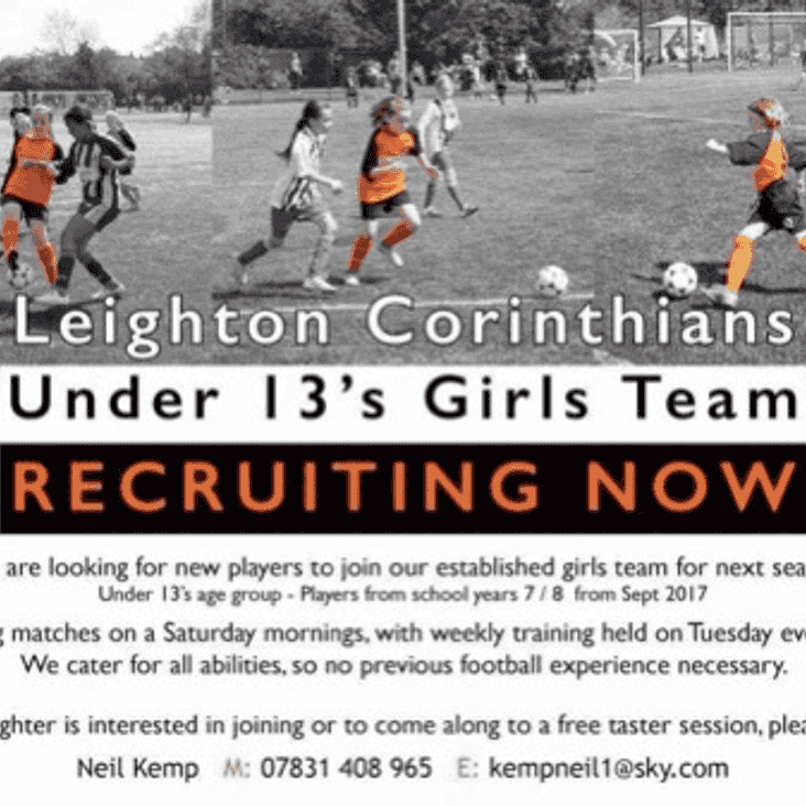 U13 Leighton Corinthians looking for new players now...