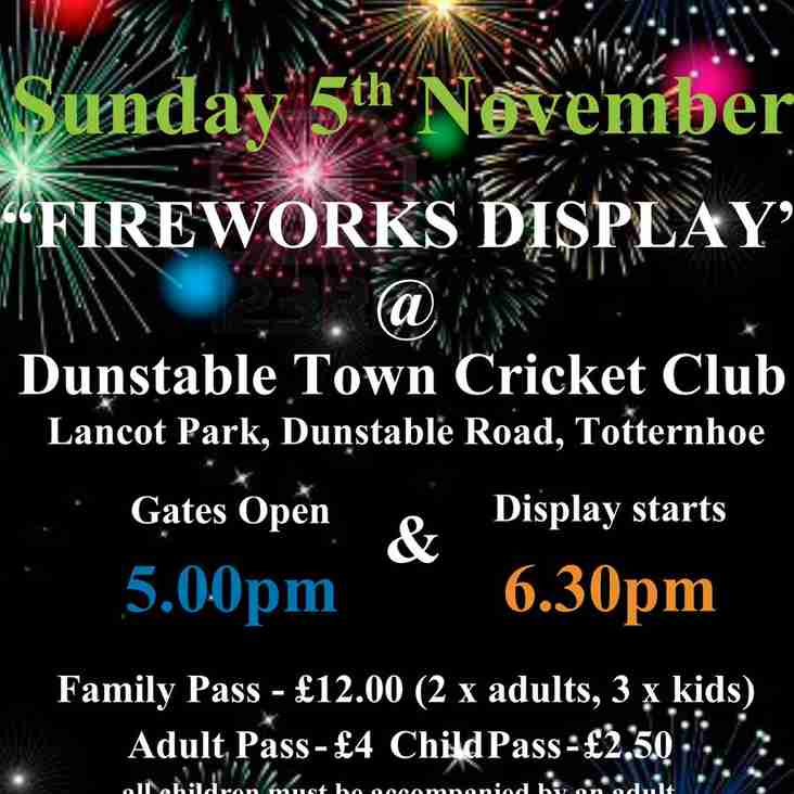 Firework Display This Sunday 05th November @ Dunstable Town Cricket Club (DTCC)