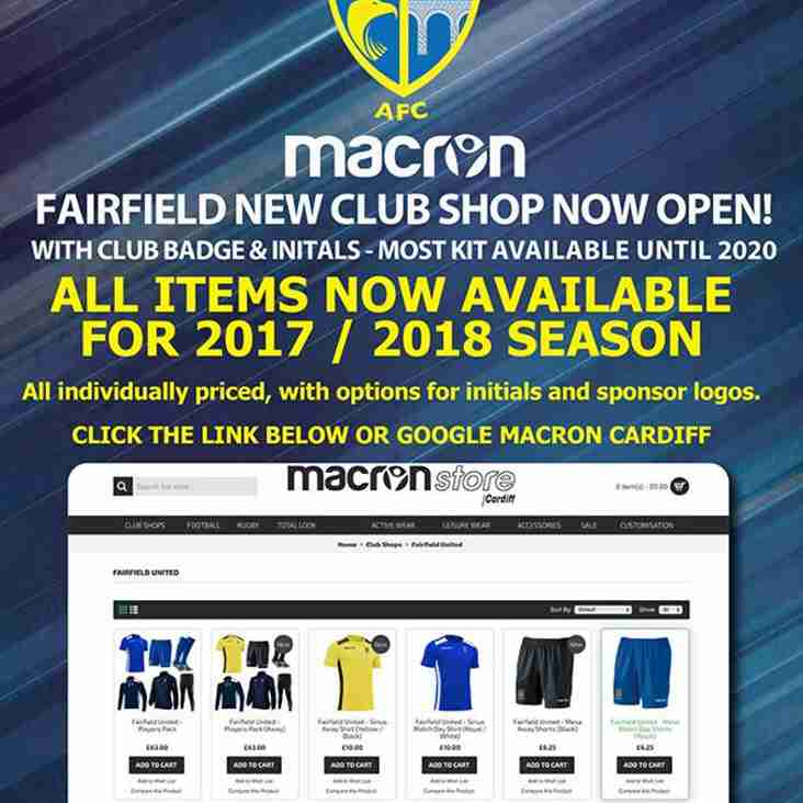New Club Shop Now OPEN!